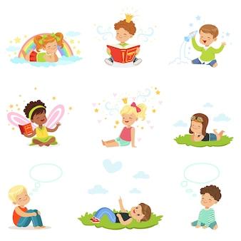 I bambini felici e adorabili giocano e sognano. cartone animato dettagliate illustrazioni colorate