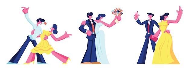 Insieme di relazioni di tempo libero coppia di innamorati felici. uomo e donna che ballano, vanno al ristorante per appuntamenti, gli sposi si sposano. i giovani creano l'illustrazione piana di vettore del fumetto della famiglia, clipart