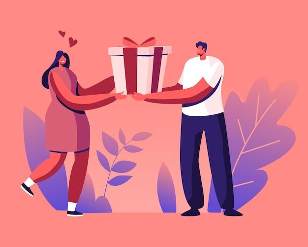 L'uomo amorevole felice prepara il regalo alla donna. cartoon illustrazione piatta