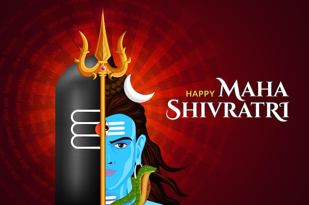 Felice maha shivratri, faccia di lord shankar con sfondo di shivlinga e trishul