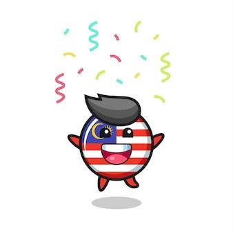 Felice mascotte distintivo bandiera malesia che salta per congratulazioni con coriandoli colorati, design in stile carino per t-shirt, adesivo, elemento logo