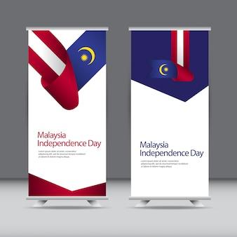 Felice celebrazione del giorno dell'indipendenza della malesia roll up