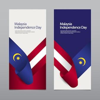 Banner verticale felice celebrazione del giorno dell'indipendenza della malesia