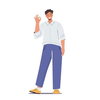 Felice personaggio maschile mostra simbolo ok, uomo mostra gesto positivo, ragazzo allegro soddisfatto emozione eccitata, approvazione