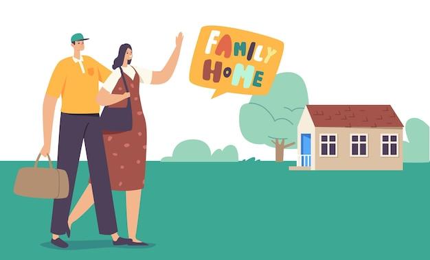 Personaggi maschili e femminili felici con borsa da viaggio che camminano lungo il campo verde fino alla casa del cottage