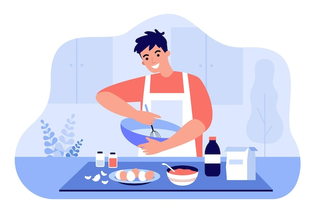 Uomo felice in grembiule mescolando gli ingredienti nella ciotola illustrazione piatta. ragazzo del fumetto che prepara la pasta o che cucina il dessert al tavolo della cucina. pasticceria artigianale e concetto di cottura