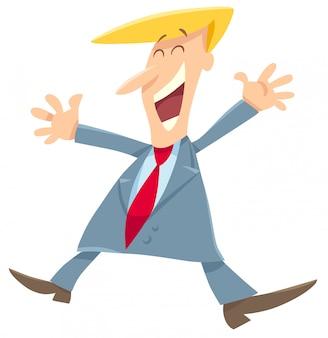 Felice uomo o uomo d'affari personaggio dei cartoni animati