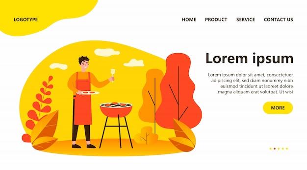 Uomo felice che cucina carne barbecue all'aperto