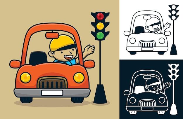 Uomo felice alla guida di un'auto al semaforo. illustrazione del fumetto di vettore nello stile dell'icona piana