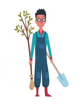 Giardiniere o agricoltore felice dell'uomo con la pala e l'albero a disposizione su una priorità bassa bianca. personaggio dei cartoni animati dell'illustrazione di concetto di agricoltura dell'uomo. elemento di design di una fattoria privata