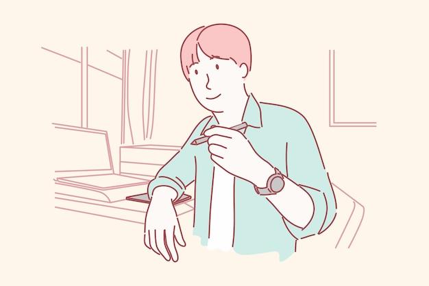 Uomo felice che tiene la penna con la mano sinistra. scrittore, grafico, concept di artista.