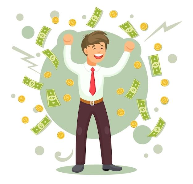 Uomo felice che salta di gioia. l'uomo d'affari celebra il successo sotto la pioggia di soldi. contanti che cadono sull'uomo d'affari
