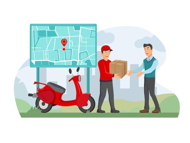 Uomo felice che riceve una scatola di consegna a casa usando un'app per smartphone, il fattorino sta portando una borsa.