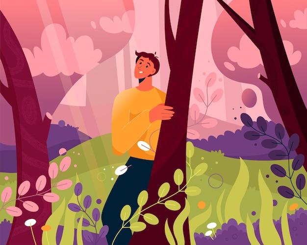 Uomo felice che cammina nella foresta magica. paesaggio da favola
