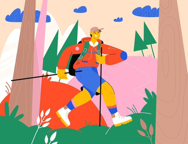Uomo felice con lo zaino che fa un'escursione nella foresta