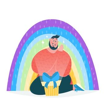 Uomo felice con un regalo, arcobaleno colorato