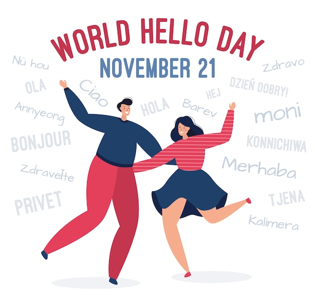 Uomo felice e una donna si congratulano in diverse lingue
