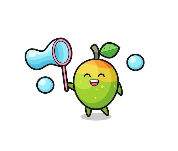 Cartone animato felice mango che gioca bolla di sapone, design in stile carino per t-shirt, adesivo, elemento logo