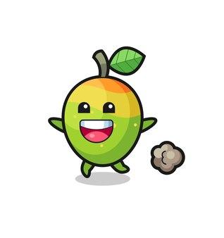 Il cartone animato felice mango con posa in esecuzione, design in stile carino per t-shirt, adesivo, elemento logo