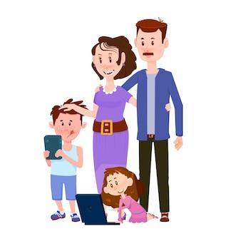 Coppia sposata felice con personaggi piatti di bambini ragazzo e ragazza.