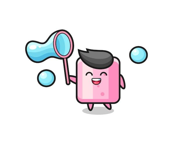Cartone animato felice marshmallow che gioca a bolle di sapone, design in stile carino per maglietta, adesivo, elemento logo
