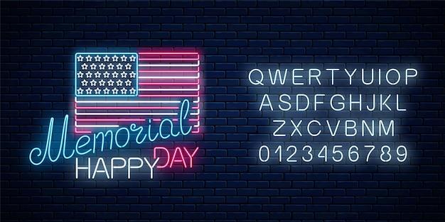 Insegna al neon d'ardore del memorial day felice con la bandiera degli stati uniti