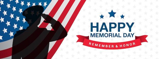 Happy memorial day - ricorda e onora l'illustrazione dell'insegna