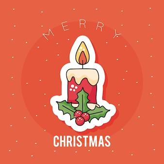 Felice buon natale candela e foglie adesivo icona illustrazione design