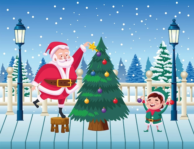 Cartolina di natale felice felice con babbo natale e l'elfo che decorano l'illustrazione dell'albero di pino