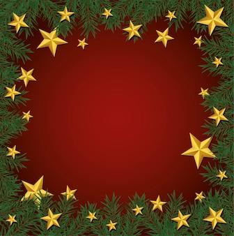 Cornice di buon natale felice con illustrazione di stelle dorate