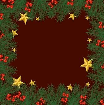Buon natale cornice felice con stelle dorate e foglie illustrazione