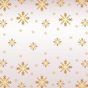 Illustrazione dorata del modello dei fiocchi di neve di buon natale felice