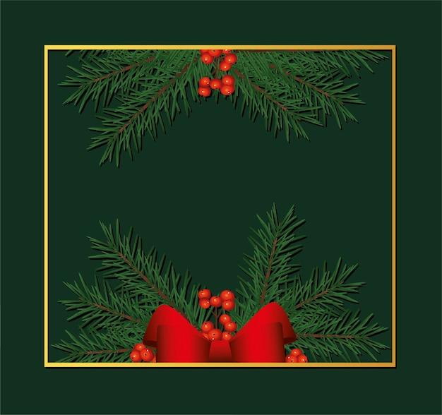 Cornice quadrata dorata di buon natale felice con fiocco e illustrazione di foglie