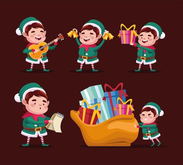 Buon natale felice gruppo di elfi caratteri illustrazione