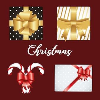 Iscrizione di buon natale felice con doni e canne