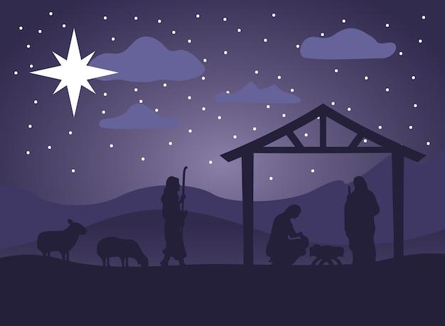 Scena felice della mangiatoia di buon natale con la sacra famiglia nella stalla e nell'illustrazione di notte degli animali