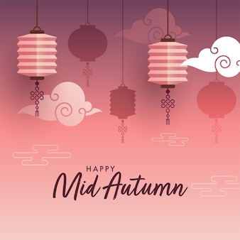 Happy mid autumn celebration poster design con lanterne cinesi appese e nuvole su sfondo rosso chiaro e viola sfumato.
