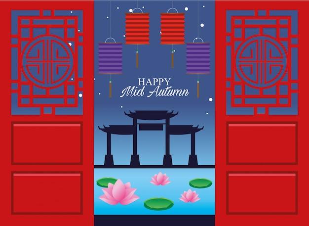 Felice metà autunno festival card con lanterne appese e archi cinesi