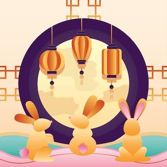 Felice poster del festival di metà autunno con luna piena e gruppo di conigli