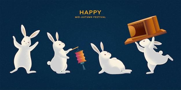 Felice festa di metà autunno con simpatici conigli che trasportano torta lunare e tengono in mano una lanterna