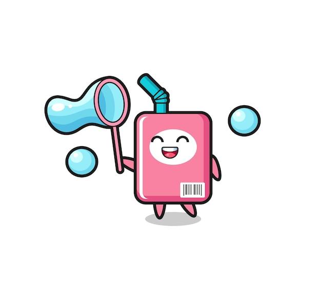 Cartone animato felice scatola di latte che gioca bolla di sapone, design in stile carino per maglietta, adesivo, elemento logo