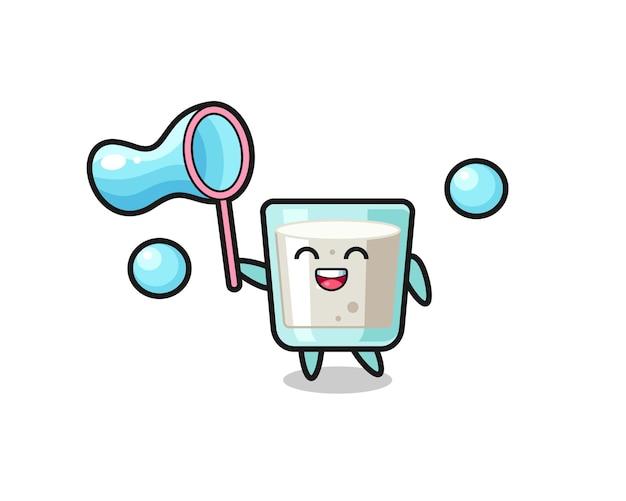Cartone animato di latte felice che gioca a bolle di sapone, design in stile carino per maglietta, adesivo, elemento logo