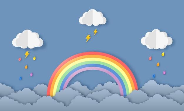 Felice stagione dei monsoni sfondo. arcobaleno nella pioggia. stile di arte della carta.