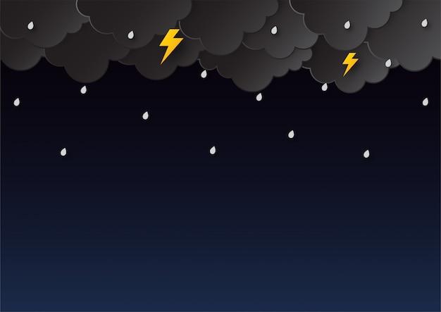 Felice stagione dei monsoni. stile di arte della carta delle piogge.