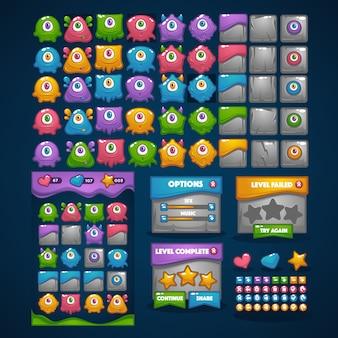 Mostri felici, match 3, grande collezione di cartoni animati, personaggi, elementi, interfaccia grafica, interfaccia utente per il tuo gioco mobile
