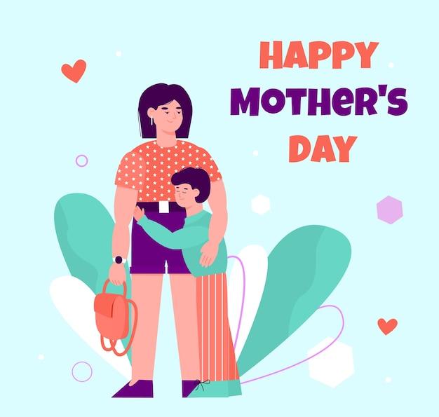 Cartolina d'auguri di felice festa della mamma con il bambino che abbraccia la sua mamma