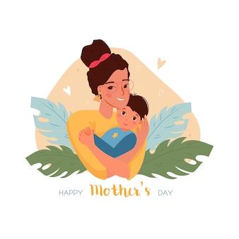 Cartolina d'auguri di felice festa della mamma con la madre che tiene il figlio del bambino tra le braccia con foglie