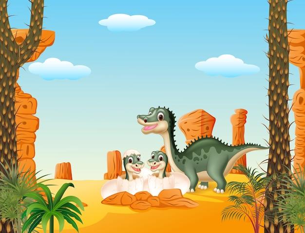 Dinosauro felice della madre con la covata del bambino