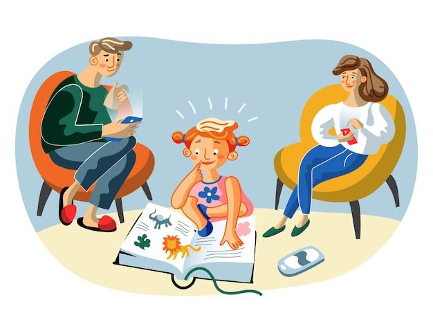 Madre felice, padre e figlia piccola personaggi dei cartoni animati, genitori che navigano in internet con smartphone, bambino intelligente preferisce il libro ai gadget