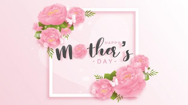 Felice festa della mamma sfondo con fiori colorati e farfalle. illustrazione del taglio della carta.